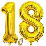Jxuzh Globo de 18 cumpleaños dorado con número 18, globo gigante dorado, globos de helio con números grandes 18, años grandes XXL, Happy Birthday de 32 pulgadas, cumpleaños gigante para niñas y niños
