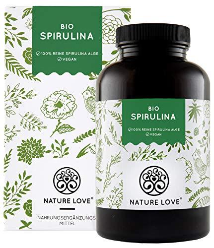 NATURE LOVE Bio Spirulina Presslinge. 100% reine Bio Spirulina Alge ohne Zusätze. 500 Tabletten....
