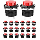 WayinTop 20 Piezas Interruptor de Botón Momentáneo 16mm 3A AC250V/6A AC125V Lockless Botón Pulsador ON/OFF Mini Redondo Botón para Arduino/Salpicadero de Coche/Barco/SPST Moment Switch Rojo