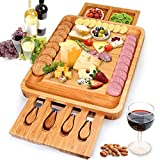 Bamboo Cheese Board and Knife Set,Cheese Servers with Hidden Drawer,Charcuterie Platter and Cheese...