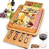Yitriden Tabla de queso con cuchillo de queso y 2 cajones, juego de queso de bambú, tabla para cortar queso, tabla para cortar queso, tabla para queso, bandeja para servir.