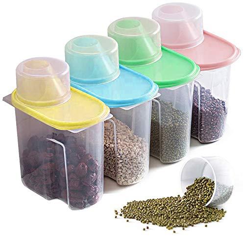 Xnuoyo Recipientes De Almacenamiento De Cereales, Caja De Plástico Para Almacenamiento De Alimentos Con Boquilla Fácil Y Taza Medidora Para Aperitivos De Arroz Nueces De Azúcar-1,9L, 4PCS