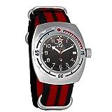 Vostok Amphibian cuerda automático para hombre reloj de pulsera militar Diver Anfibios funda reloj de pulsera # 090306 (black+red)