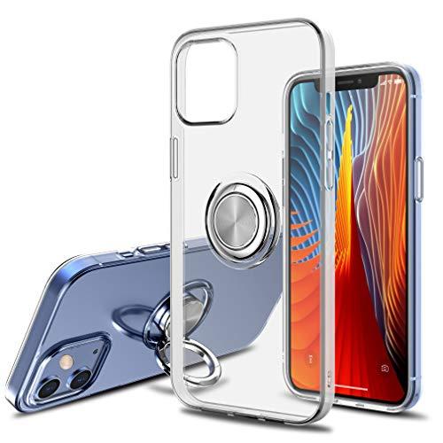 SORAKA Funda Transparente para iPhone 12 Mini con Anillo Giratorio de 360 Grados y Placa de Metal para Soporte Móvil Coche Magnético,Ultradelgado Carcasa de TPU Suave
