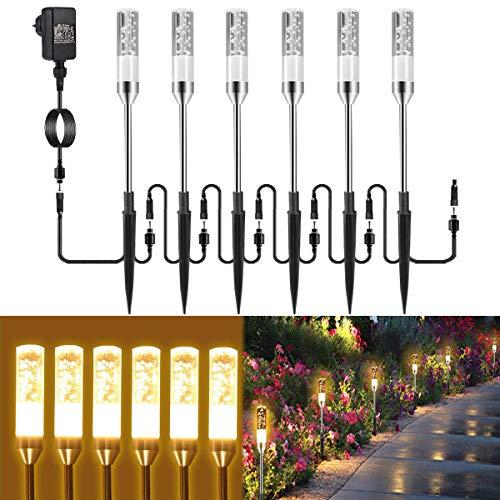 Gartenbeleuchtung B-right 6er Set Gartenleuchte mit Erdspieß, Außenleuchte mit Stecker, Landschaftslicht Wegleuchte Gartenlampe mit Kabel, 570lm, 2700K, IP65 Wasserdicht Außenbeleuchtung für Outdoor