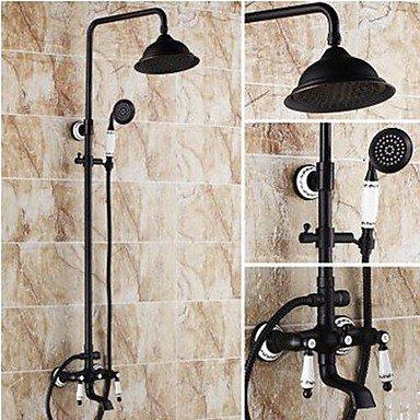 Zulux Tmaker, rubinetto per doccia, anticato, di ottone,doccetta inclusa/soffione (bronzo con incisione)