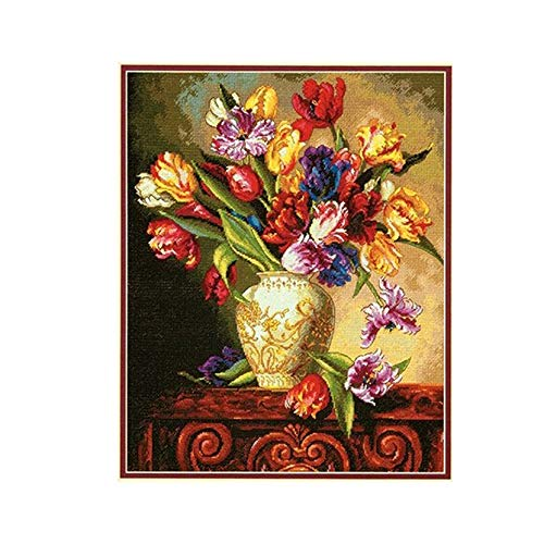 JIUYUE mooie mooi geteld kruis steek kit papegaai tulpen Tulp bloemen bloem in vaas kruis steek Kits