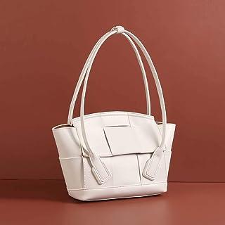 ETH Leather Hand Woven Plaid Tote Bag Shoulder 34.5x9x21cm Hand Bag (Color : White)