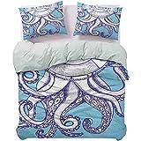 UNOSEKS LANZON - Funda de edredón de tres piezas, diseño de pulpo y boya salvavidas, estilo vintage, con letras y texto 'Sea Voyage', color morado y azul