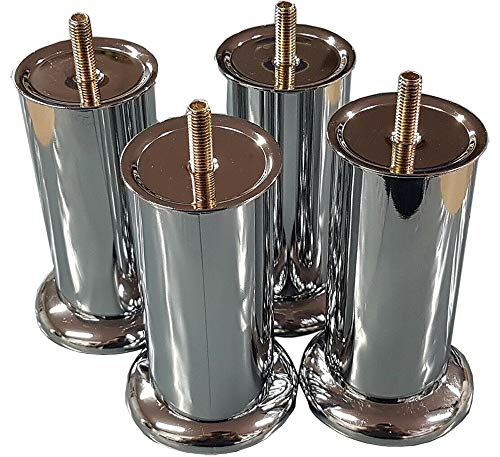 4 x Chrome Furniture Legs/Feet 120mm for Sofas Beds Chairs Stools Cabinet Glides M8