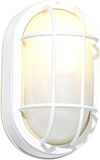 Hampton Bay White Cast Aluminum 8.5 In. Oval Bulkhead With Bulb Included HB8822P-06