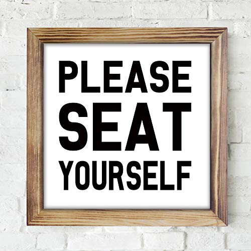 Please Seat Yourself Bathroom Sign Decor- Funny Rustic Farmhouse Wall Decor Bathroom Sign, Solid Wood Bathroom Wall Sign, Rustic Home Decor, Sign for Bathroom Wall with Funny Quotes 12x12 Inch