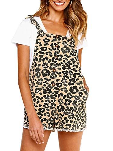 Minetom Damen Jumpsuit Rompers Leopard Mode Latzhose Retro Kurzoverall Sommer Nette Strampler Overall Hosen Beiläufige Playsuits Khaki DE 36