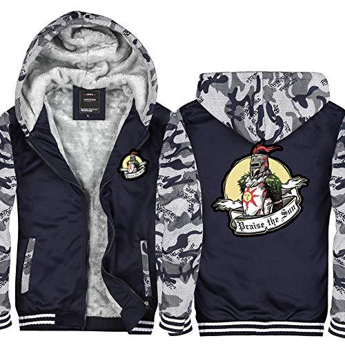 BBSC Herren Hoodie Jacke Dark Souls Praise The Sun Printed Sweatshirt Baseball-Trikot Langarm Warmen Pullover Mit Reißverschluss -Unisexe Zip Multi-Colored-XXL