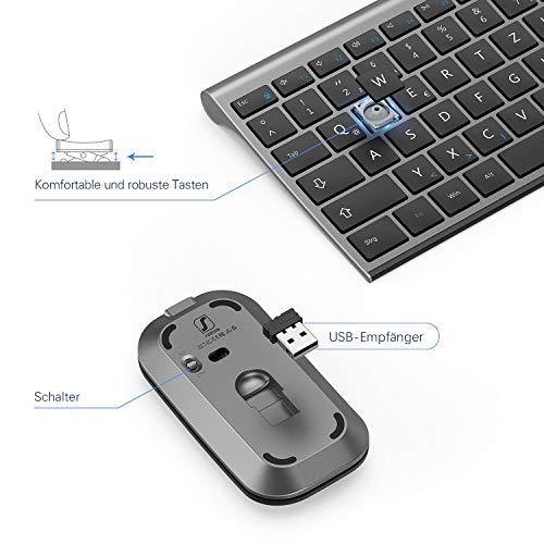 seenda Tastatur Maus Set Kabellos, Ultra-Dünne Wiederaufladbare Kabellose Tastatur mit Ziffernblock und Leise Funkmaus, QWERTZ Deutsches Layout für PC/Laptop/Smart TV usw, Space Grau