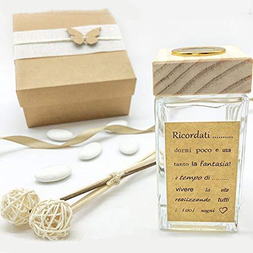 Ingrosso e Risparmio Porta perfumes de cristal con tapón de madera y etiqueta con frase, ideas útiles para boda, comunión, con caja de regalo (con caja rosa)