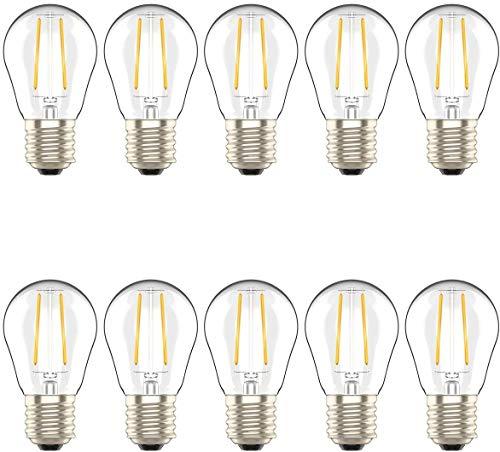 LED E27 Tropfen Filament Lampe, 2W LED Edison G45 Leuchtmittel 200 Lumen, Ersetzt 20W Glühfadenlampe, 2700K Warmweiß Glühbirne, 10 Pack