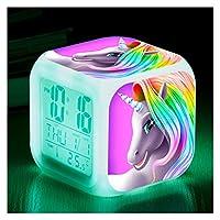 目覚まし時計 LEDナイトライトクロックを変更する2020漫画の目覚まし時計キッズ子供モーニングコール時計7色 ベッドルーム (Color : NO 1)