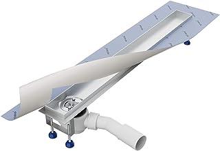 Canalina doccia 80 cm, scarico laterale/AQUABAD® SDS Pro in acciaio INOX/con filtro per capelli/compresi: sifone orizzonta...