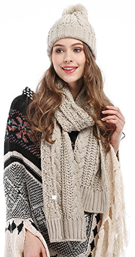 Women's Cable Knit Hat and Scarf Set Two Piece Thicken Pom Pom Beanie Beige One Size