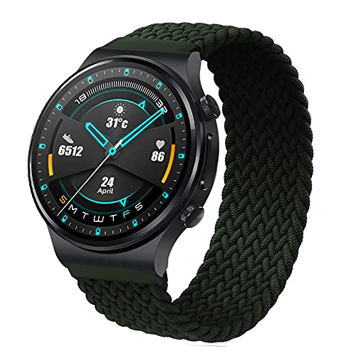 RIOROO 22mm Correa Compatible para Garmin Vívoactive 4 Correas, Pulsera Compatible para Huawei Watch GT 2 (46 mm)/Galaxy Watch 3 para Mujeres Hombres Sport Elástica Tejida Repuesto Banda(sin Reloj)