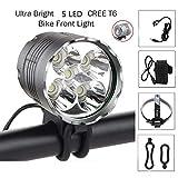 SSU Bike Light, 6000 Lumen 5 LED Bicycle Headlight, Waterproof Mountain Bike Front
