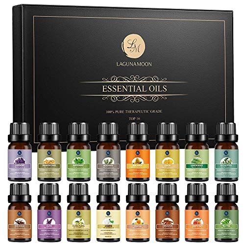 Lagunamoon Essential Oils Gift Set, Natural Aromatherapy Essential Oil for Diffuser Humidifier Sleep Massage - Lavender, Tea Tree, Lemon, Orange, Peppermint, Rosemary, Lemongrass - 16 Pack 10mL