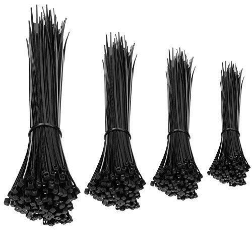 HAPPY FINDING 400 Stück Kabelbinder. 100 St. 6mm*150mm | 100 St. 3.6mm*200mm | 100St. 3.6mm*250mm | 3.6mm*300mm für Zaun Schattiernetz Zaunblende in Schwarz
