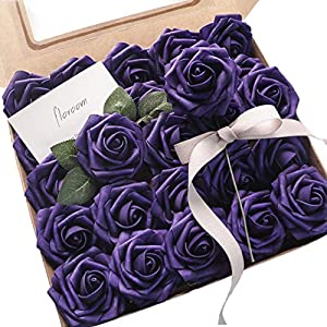 Floroom Artificial Flowers 25pcs Real Looking Purple Fake Roses with Stems for DIY Wedding Bouquets Bridal Shower Centerpieces Floral Arrangements Party Tables Home Decorations