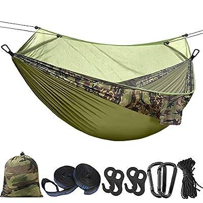 Hieha Double Camping Hammock with Mosquito Net Tree Hammocks, Portable Travel Hiking Camping Hammocks for 2 Adults (Dark Green)