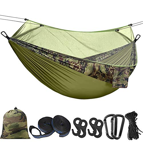 "Hieha Double Camping Hammock with Mosquito Net Tree Hammocks,Portable Travel Hiking Camping Hammocks for 2 Adults,Outdoor Backyard Backpacking Camping Hammock with Tree Straps 118""(L) x 78""(W)"
