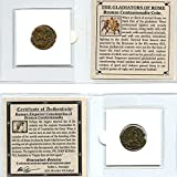 THE GLADIATORS OF ROME - Authentic Roman Bronze Centenionalis Coin of Constantius II Comes in mini folder with Certificate of Authenticity Authentic Ancient Roman Coin from 307-361 AD Great gift & educational item! GUARANTEED GENUINE