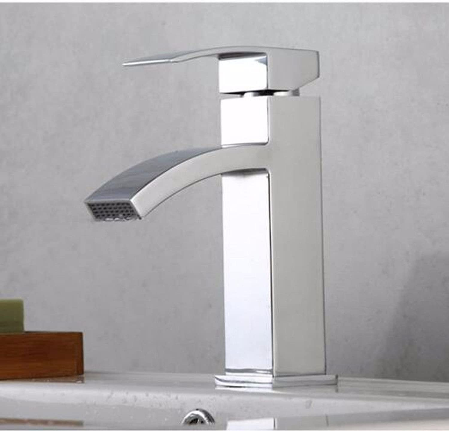 LHbox Basin Mixer Tap Bathroom Sink Faucet Hot and cold water faucets full copper basin wash basin single hole cold-hot water tap Tap art basin waterfall Faucet