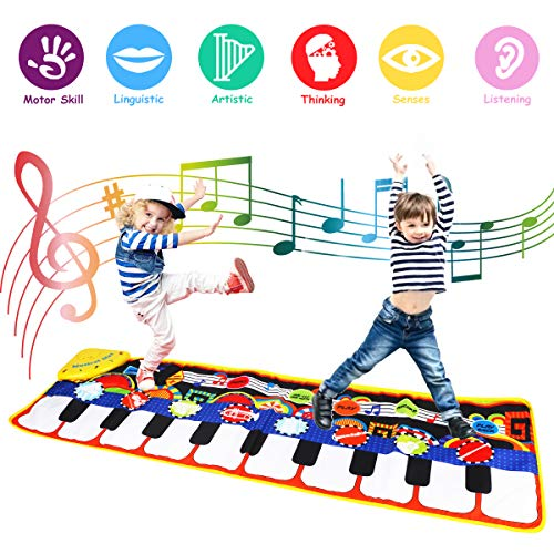 Coolplay Tapete para Piano tamaño Grande (39 * 14 Pulgadas) Juguete para niños con Teclado y Teclado para Piano, Divertido tapete de Baile para bebés Niños pequeños y Regalos para niñas
