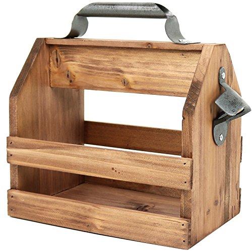 COM-FOUR® Portabidón de madera con abrebotellas de metal y asa de metal, 6 plazas, portabotellas para 6 botellas à 0,33 l