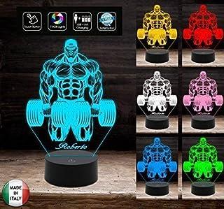 Lampada bodybuilding Culturismo bodybuilder Idea regalo compleanno inaugurazione palestra 7 colori a led con nome personal...