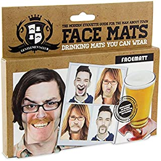 Paladone Gentlemans Club Face Drink Coasters - 20 Hilarious Double Sided Drink Coasters (40 Fun Faces)