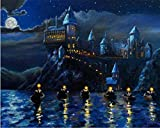 Pintura por Números Castillo Harry Potter Hogwarts Murales Adultos y niños Pintar Diy al óleo de Bricolaje con Marco Pinceles Principiantes Hogar Lienzo Decoraciones Colores Acrílica Conjunto