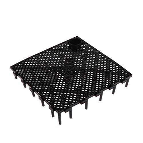 Exing Placa de filtración para acuario, fondo decorativo bajo grava, sistema potenciador de grava (negro)