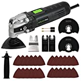 GALAX PRO 3.5A 6 Variable Speed Oscillating Multi Function Power Tool Kit with Quick Clamp System Change and 30pcs Accessories, Oscillating Angle:4° for Cutting, Sanding, Grinding