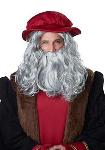 California Costumes Men's Renaissance Man Wig & Beard, Gray, One Size