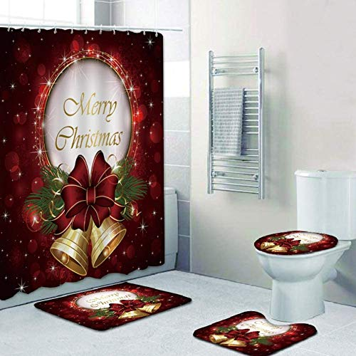 yadamse 4Pcs Merry Christmas Shower Curtain Sets,Christmas Bathroom Decoration Waterproof Bath Curtain with 12 Hooks,Base Mat,Toilet Mat,Floor Mat, Holiday Bathroom Decoration Set (Style 5)