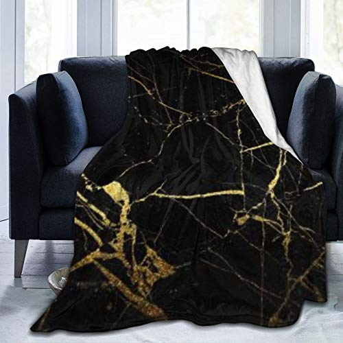 Fashion boutique clothing Fleece Blanket 50' x 60'- Gold And Black Wallpaper Home Flannel Fleece Soft Warm Plush Throw Blanket for Bed/Couch/Sofa/Office/Camping
