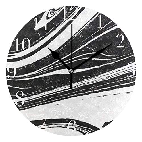 Round Wall Clock Black and White Marble Acrylic Creative Decorative for Living...