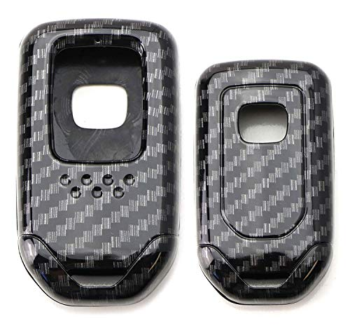 iJDMTOY (1) Exact Fit Gloss Metallic Carbon Fiber Pattern Smart Remote Key Fob Shell Compatible With Honda Accord Civic Crosstour HRV FIT Odyssey, etc