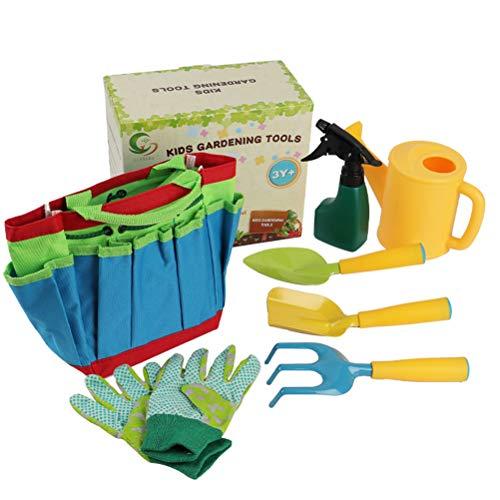 Juego de 8 herramientas de jardinería para niños, kit de jardinería, bolsa de transporte, rastrillo, pala, tenedor, regadera, guantes para niños y niñas, jardinería al aire libre
