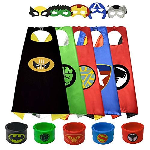 Sinoeem Capa de Superhéroe para Niños - 5 Capa y 5 Máscaras - Ideas Kit de Valor de Cosplay de Diseño de Fiesta de Cumpleaños de Navidad - Juguetes para Niños y Niñas (Capes Girl)