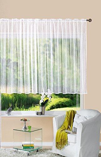 Gardine Store Jacquard Isabella HxB 120x300 cm Kräuselband Universalband Weiß Längsstreifen Transparent Voile Vorhang Wohnzimmer, 13145