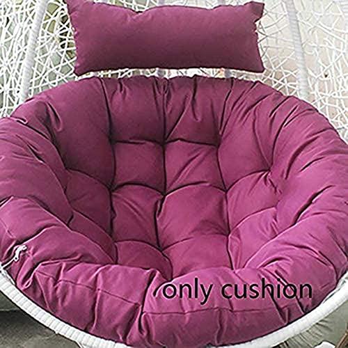 Cuscino per sedia da giardino, in vimini e rattan, per sedia a sdraio, per poltrona a forma di luna, con cesto singolo, rotondo, colore viola chiaro, 100 x 100 cm (solo cuscino)