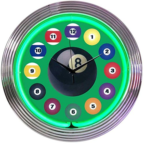 Billiard Ball Green Neon Clock